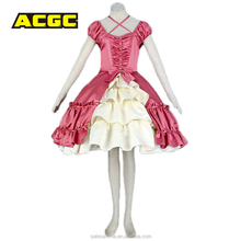 Carnival party latex lolita cosplay costume sex girl japan pink maid lolita costume