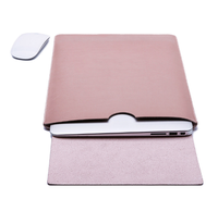 leather backside laptop cover with mouse mat on right side for air pro