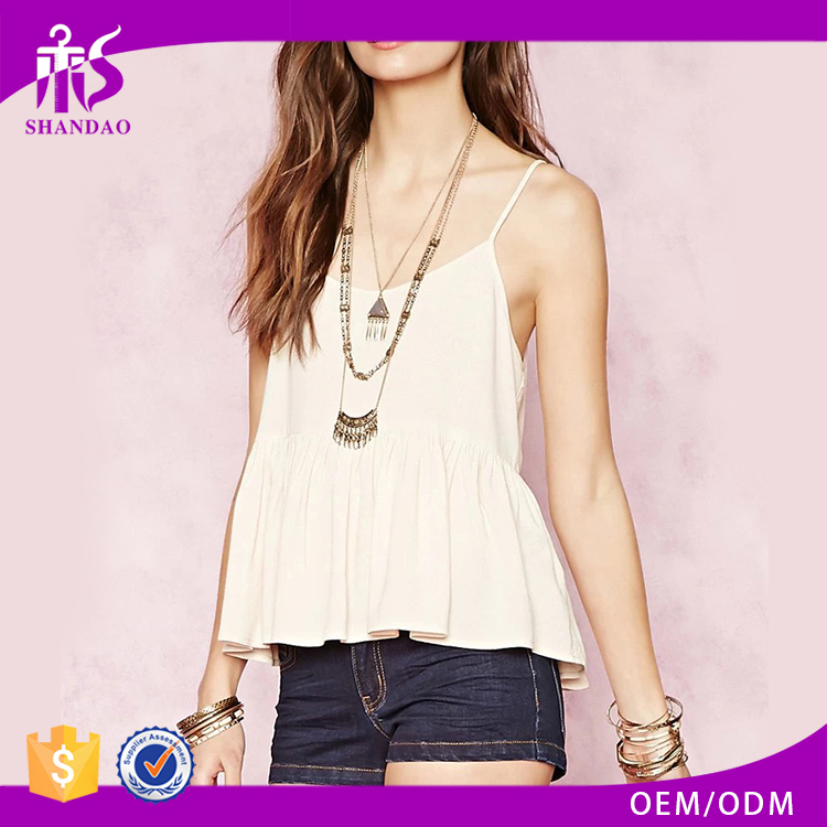 2016 guangzhou shandao oem service summer new design casual plain dyed sleeveless pleat loosely girl latest design top
