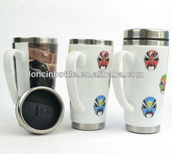 Insulated Stainless Steel Ceramic Travel Mug Stainless Steel Porcelain Coffee Mug Stainless