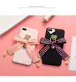 Fashion Stripe Bowknot Ribbon Pearl Gemstone Pendant Cell Cover For Apple Iphone 6 6s Plus Iphone7 7P 8 X Soft Mobile Phone Case