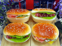 Soft Rebound PU Fake Hamburger Bread Food Sample Model For Cellphone Strap Ornaments