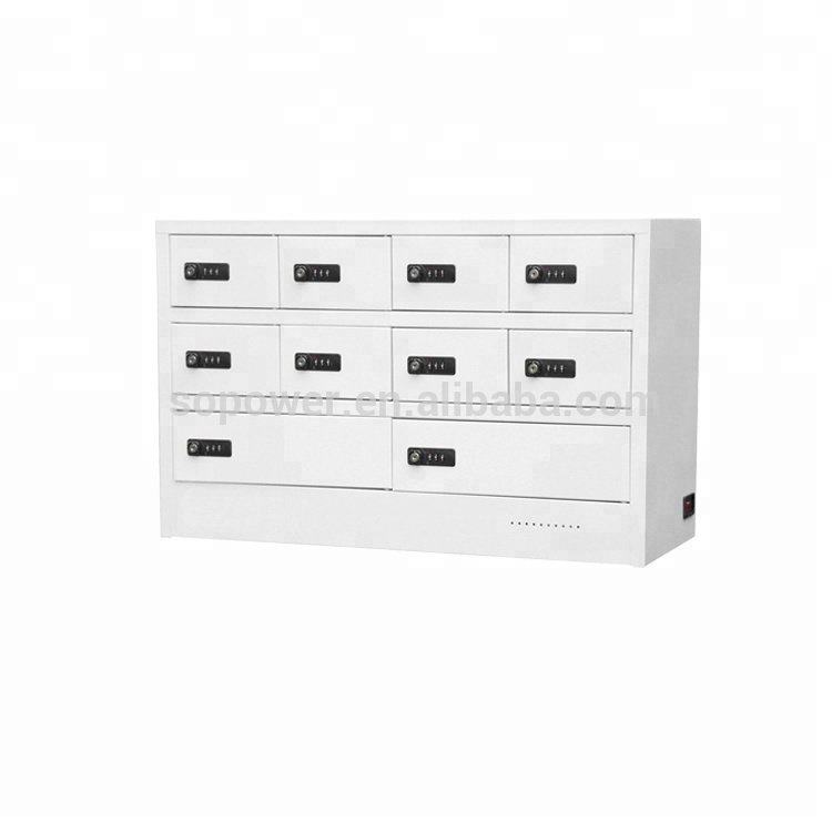 desktop 10 door charge locker 10 bay charge kiosk wall-mounted 10 locker charge cabine
