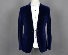 High class velvet men's formal suit