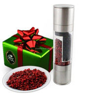 Adjustable Ceramic Grinding Mechanism Stainless Steel Salt and Pepper grinder Set 2 in 1 pepper mill tray