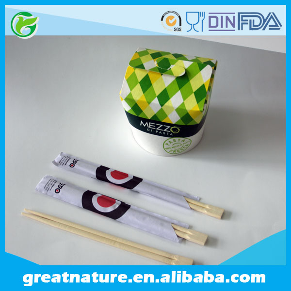 Natural bamboo disposable chopsticks with sleeves