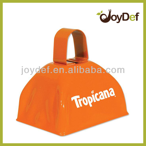 Metal Small Orange Cow bell with Customers' logo