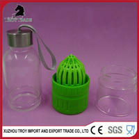 Hot selling Clean glass lemon water bottle with aluminum cap and sling