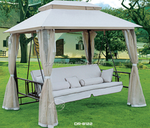 Hot Sale Derong outdoor furniture swing garden patio luxury swing bed cheap iron swing with mosquitoo net