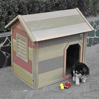 Out door water proof wooden natural dog kennel dog house with balcony and bituminous roof