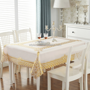 WT 1801 PVC Plastic Gold Washable table cloth