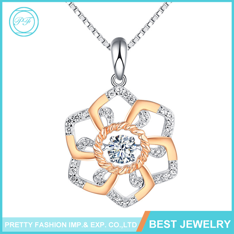 Jewelry Manufacturer Wholesale Fashion Jewelry 2016 Gold Flower Diamond Crystal 925 Sterling Silver Pendant Necklace Gem Jewelry