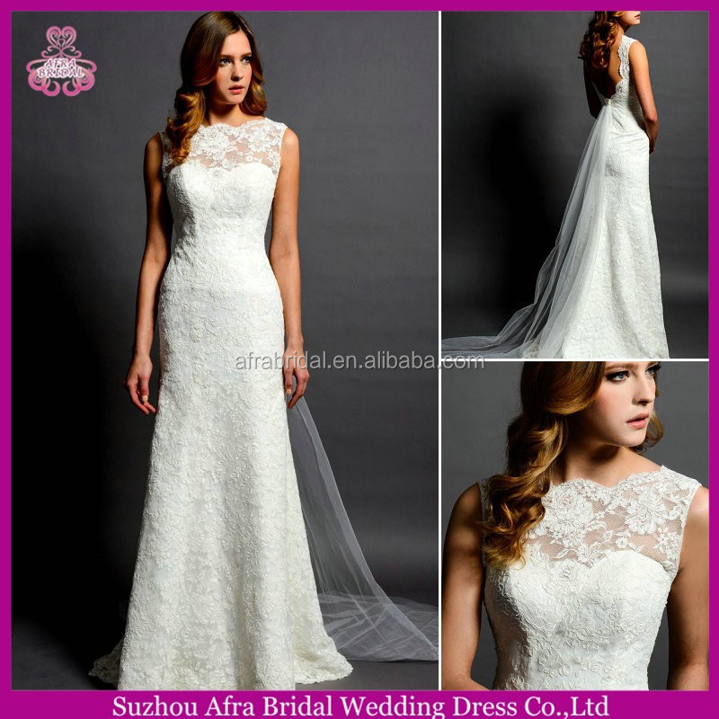 SD1586 sheer top sexy lace wedding dresses long tail islamic wedding dress 2014
