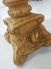 Wood like antique hand carving natural marble pillar candle holder