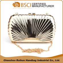 New coming gold shell pattern women clutch purse handbag hard case