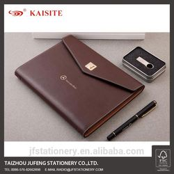 custom style leather bound journal pu cover diary notebook and pen business set with card holder