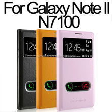 PU leather case cover for Samsung Galaxy Note 2 N7100 smart window case for note2 n7100