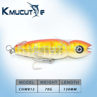GT popper lures Saltwater popper lures wood popper Top water Surface Lure Handcraf for sea fishing game 130mm 70g