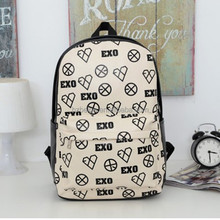 PU School Bags Backpack Hobo Bags For Girls 2016 Newest EXO Korean Style Bag For Teens