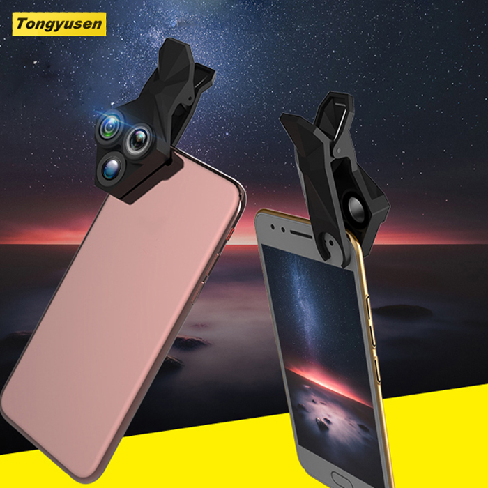 Factory supply mobile camera extra lens shell clip-on cell phone with fisheye wide angle macro lens