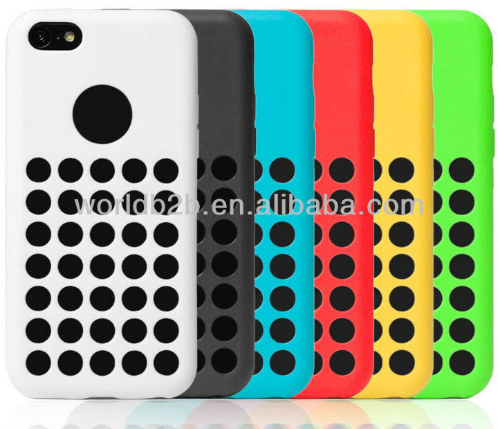 Original Style colorful dot hole tpu case for iphone 5c