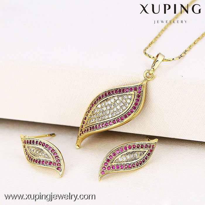 62780-xuping fashion jewelry 14k gold luxury ruby stone jewelry sets 14k gold jewelry wholesale