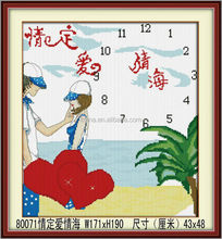 FAMOUS LOVE AND WALL CLOCK PAINTING, COLORFUL PAINTING, CHINESE ROMANTIC PAINTING