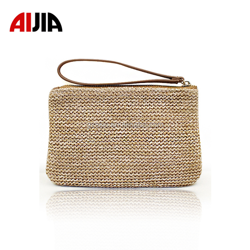 2017 Hot selling fashion classic clutch lady hand bag women's bag wheat straw Clutch Bag