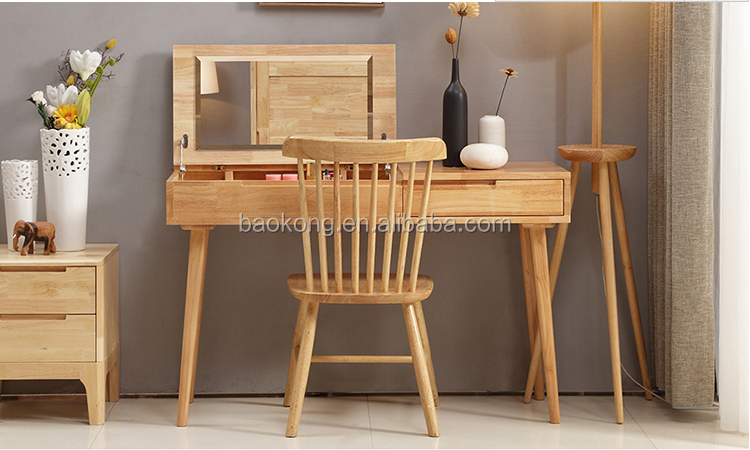 Simple Wooden Dressing Table With Drawer And Mirror Designs