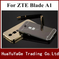 Hot selling phone case Luxury Mirror back +Bumper cover aluminum metal frame Case For ZTE Blade A1