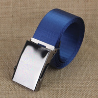 latest fabric canvas webbing belt with Metal plate flat buckle