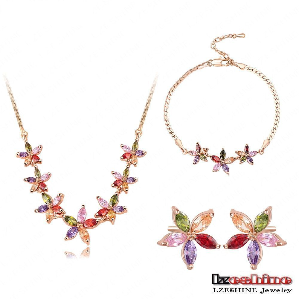 LZESHINE Fashion 18K Gold Plated Saudi Arabia Jewelry Sets Multi Color Flower Cubic Zircon Ladies Jewelry Sets CST0008-C