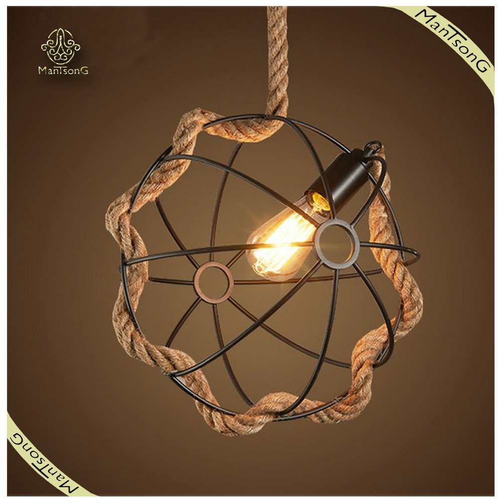 home indoor lighting hemp rope creative hanging pendant light buy