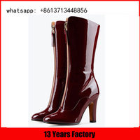 patent black and wine upper long sepatu boot front zipper for sweaters back elastic tube girls boots