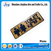 custom design metal labels high quality toilet sign label