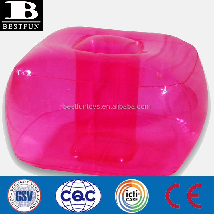 high quality inflatable bubble ottoman durable plastic inflatable foot stool folding small inflatable foot-rest square stool