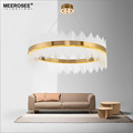 MEEROSEE LED Pendant Light Crystal rods Hanging Lamp for Dinning room Gold Circle Suspension Lamparas Lustres Abajur MD85503