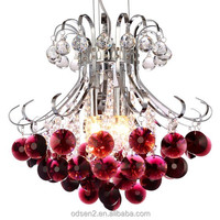 Modern wine red crystal pendant light