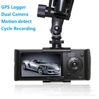 X3000 Dual lens 2 channel front rear dual camera gps car dvr