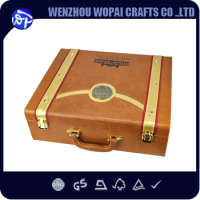 Luxury handmade wine box leather covered wine set box