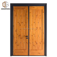 Modern French double leaf entry door storm swing doors sash tempered glass door with solid wood for villa