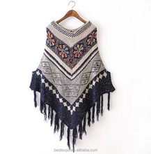 wholesale women ethnic wind flower pattern poncho fashion tassel pullover womens knit sweater