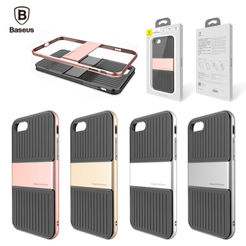 Baseus Luggage Pattern Hybrid Anti fall Back Case Cover For iPhone 7 / 7 Plus