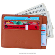 Personalized men's leather card holder wallet/Custom bank card holder with RFID Blocking