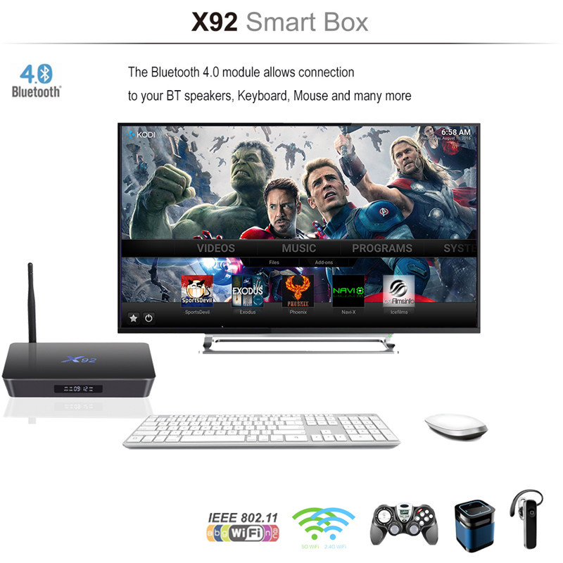 new Amlogic s912 Android tv box x92 with Android 6.0 octa core 2G 16G install free play store app google arabic box iptv