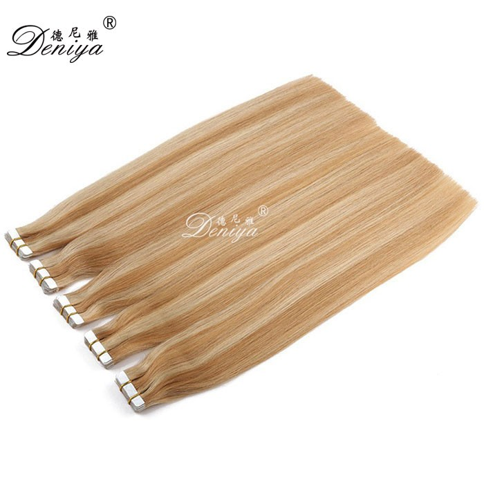 Straight tape hair extensions brazilian human hair blonde