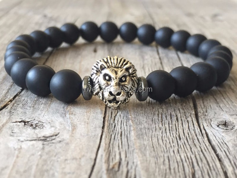 SN1201 lion jewelry Men Matte Black Onyx bracelet stacking stretch beaded bracelet