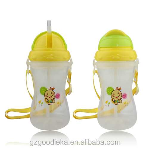 Good ieka food grade OEM silicone straw sippy baby cup with belt