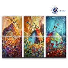 Handmade Recreation Contemporary Canvas Abstract Group Oil Painting 3 Panel