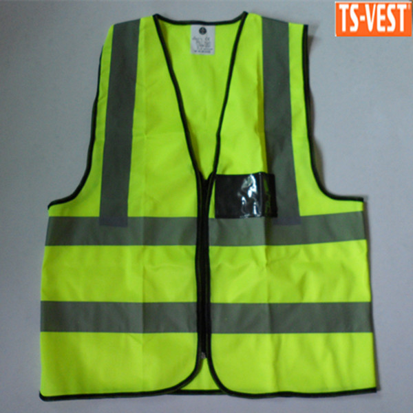 Motorcycle Cheap Reflective Construction Vest with PVC Pocket